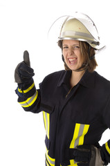 Junge Feuerwehrfrau in Uniform, Lachen