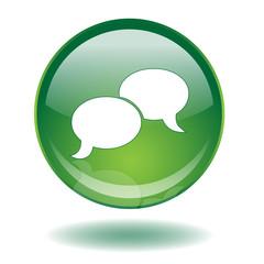 CHAT Web Button (Speech Bubbles Internet Share Blog Forum Live)