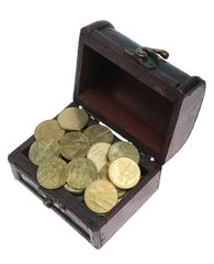 Small chest with gold coins