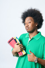 African American student with textbook