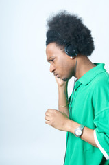 Black Teenager listen to music