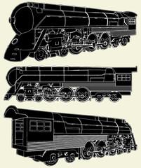 Antique Locomotive Vector 01