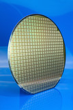 Silicon wafer on blue background poster