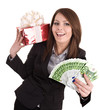 Business woman with money,red christmas box.