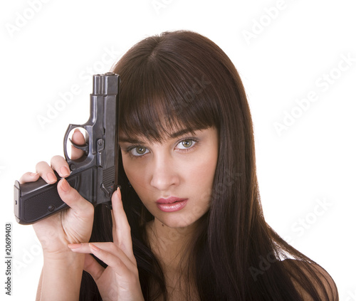 Character depression woman with gun. Isolated.