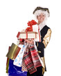 Man in old costume and gift box shopping. Isolated.