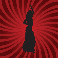 Flamenco dancer silhouette on red background