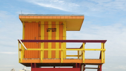 Lifeguard house on South Beach in Miami