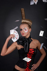 Sexy Poker player with card