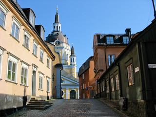 Wooden houses in Stockholm streets (Sweden)