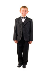 Young Schoolboy. Studio Shoot Over White Background.