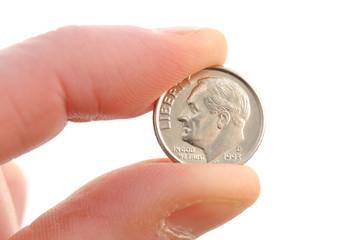 Close-up of Roosevelt Dime