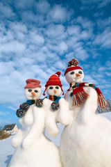 snowman family posing, with house
