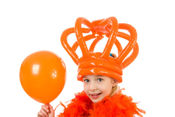 Girl is posing in orange outfit over white background