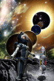 astronaut and alien planet-