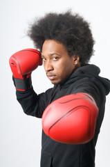 African American Boxer posing