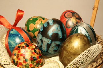 Easter eggs in basket close-up