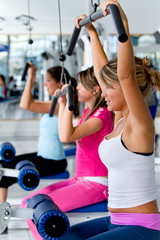 Women at the gym exercising