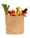 A grocery bag full of healthy fruits and vegetables - 20711854