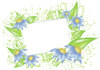 White card with blue flowers