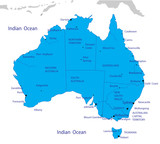 Political map of Australia poster