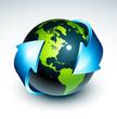 Planète terre et flèches bleues