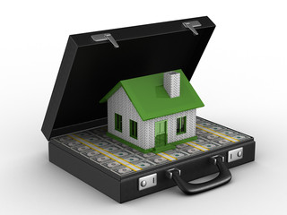 Money for real estate. Isolated 3D image