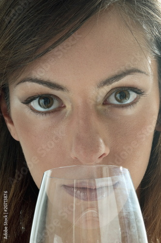 Young woman with a wine glass