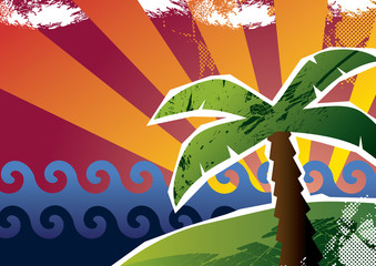 Sunset with a palm tree. Vector illustration.