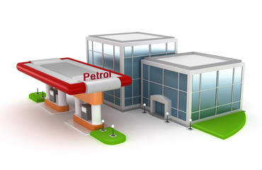 Gasoline Station and market - 3D concept.