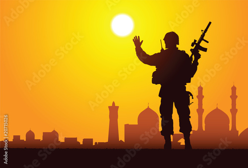 Aluminium Militair Silhouette of a soldier with mosques on the background