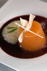 Closeup of a high cuisine dish