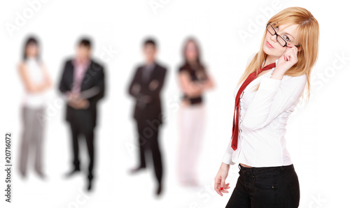 business woman leading a team in the office