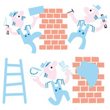 bricklayers on white background - vector illustration cartoon. poster