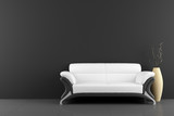Fototapety white sofa and vase with dry wood in front of black wall