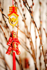 decorative firecracker with gingko branch  in chinese new year