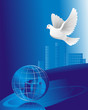 peace symbol - a white pigeon over crystal globe