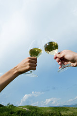 Young woman's and young man's hands holding wineglasses with white wine and toasting