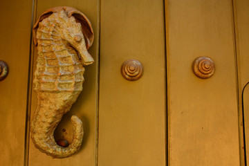 Metal knocker shaped sea horse. Hippocampus