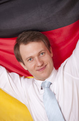 fanatic man with german flag