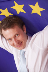 man with european union flag