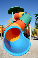 Colorful tube slide in a playground