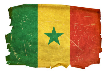 Senegal Flag old, isolated on white background.