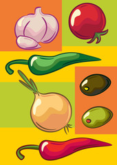 Vegetables: onion, garlic, tomato, chili peppers, olives