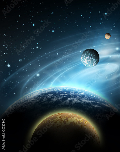 planet with sunrise on the background of stars © Victoria