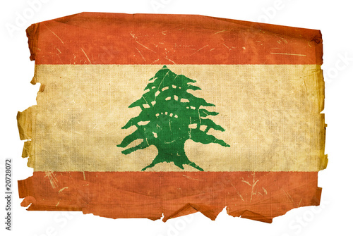 Lebanese Flag old, isolated on white background.