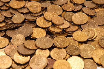 Coins texture - angled view