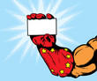 superhero hand holding card