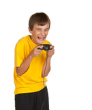 boy playing video games isolated on white poster