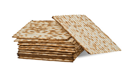 Close up of square matza isolated on white background